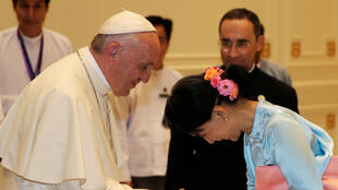 Le pape François et Aung San Suu Kyi, le 28 novembre 2017 à Naypyitaw.