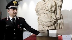 A marble statue returned to Rome after being stolen 20 years ago