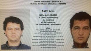 Aviso de busca lançado pela polícia com informações sobre o suspeito do atentado de Berlim, Anis Amri..