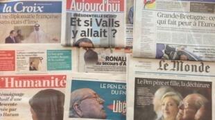 Primeira página dos diários franceses de 5/05/2015