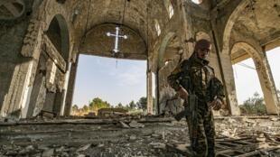 Les décombres de l'église de la Vierge Marie, dans le village de Tal Nasri, dans la province d'Hasakah, en novembre 2019.