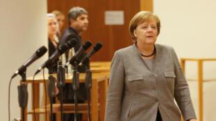 A chanceler Angela Merkel durante negociações para formação de um governo de coalizão em 19 de novembro de 2017.