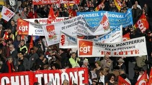 French Civil servants demonstrate to protest for better working conditions and salary increases in Marseille, 31 January 2013