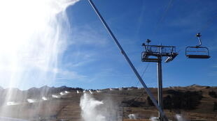 Snow canons being tested at the Les Saisies ski resort in the French Alps.