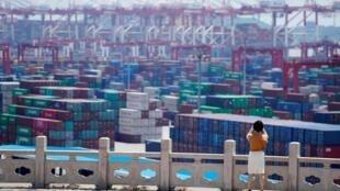 上海洋山深水港的集裝箱