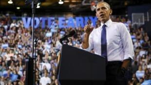 باراک اوباما، رئیس جمهورآمریکا در جمع دانشجویان دانشگاه بین المللی فلوریدا در میامی. پنجشنبه ٣ نوامبر٢٠۱۶