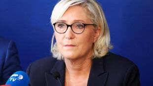 La cheffe du parti d'extrême droite Marine Le Pen, ici à Rome, le 8 octobre 2018. Immigration et insécurité sont des thèmes fétiches du RN depuis sa création en 1972.