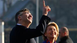 Le Premier ministre croate Andrej Plenkovic et la présidente de la Commission européenne Ursula von der Leyen, à Zagreb (Croatie), le 10 janvier 2020.