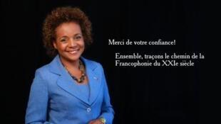 Michaëlle Jean, nova secretária-geral da Francofonia, agradecendo a sua designação na sua conta Twitter