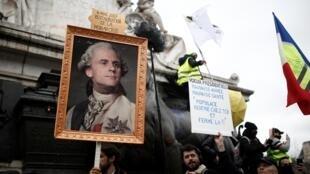 Manifestación en París del 9 de enero de 2020 contra la reforma de las pensiones.