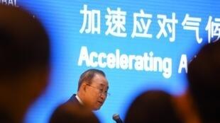 L'ancien secrétaire des Nations unies, Ban Ki Moon, lors de la présentation du rapport de la Commission globale sur l'Adaptation, dont il fait partie, le 10 septembre 2019 à Pékin.