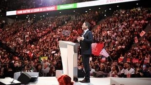 French Socialist Party presidential candidate Benoît Hamon, at Sunday's rally