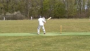 A player in action for Chantilly Cricket Club.