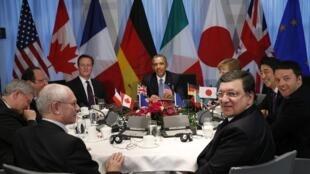 Os líderes do G7 e da União Europeia (UE) reunidos nesta segunda-feira (24) em Haia.