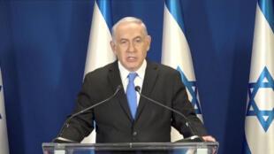 O premiê israelense Benjamin Netanyahu durante pronunciamento na televisão em 13 de fevereiro de 2018.