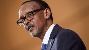 Rwandan President Paul Kagame during the World Health Assembly in Geneva, 21 May 2018.