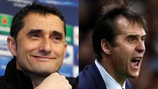 Ernesto Valverde, entraîneur du FC Barcelone et Julen Lopetegui, entraîneur du Real Madrid.