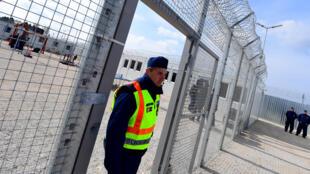 Полицейский на границы Венгрии с Сербией в Томпе, апрель 2017 года