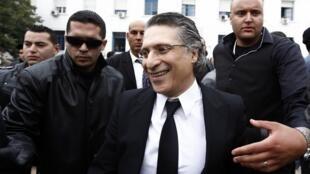 Nabil Karoui, directeur de la station de télévision Nessma TV à la sortie de l'audience, Tunis, le 19 avril 2012.
