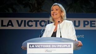 Lãnh đạo đảng cực hữu Pháp RN Marine Le Pen phát biểu sau bầu cử Nghị Viện Châu Âu 2019, Paris, ngày 26/05/2019