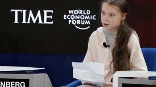 Greta Thunberg, lors du Forum économique mondial de Davos, le 21 janvier 2020.