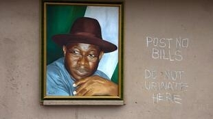 A portrait of Nigerian President Goodluck Jonathan hangs on a wall in Lagos