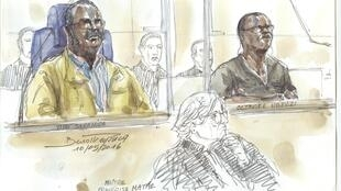 This courtroom sketch made on May 10, 2016 shows Tito Barahira (back, left) and Octavien Ngenzi (back, right), two former Rwandan mayors who were sentenced to life by a Paris court for orchestrating the massacre of hundreds of Tutsis in 1994