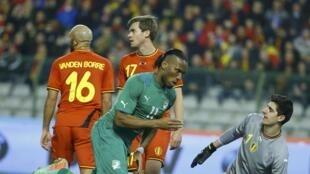 Didier Drogba buteur face à la Belgique.