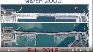 网传谷歌地球APP显示的不同年度形状迥异的三峡大坝图片