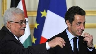 Sarkozy and Abbas at the press conference at the Elysée Palace