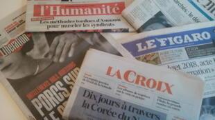 Primeiras páginas dos jornais franceses de 17 de outubro de 2017