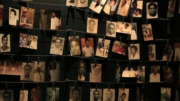 Photographies of genocide victims at the memorial in Kigali