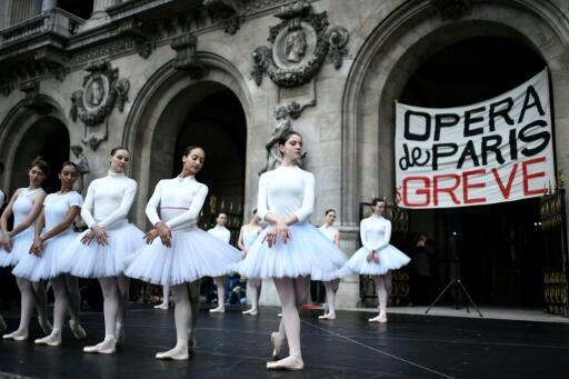 All out: Striking dancers from the Paris Opera perform on the steps of the Opera Garnier in the French capital on Christmas Eve
