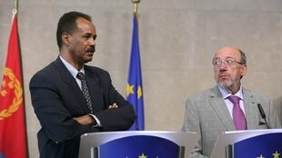 Eritrean President Isaias Afewerki and Louis Michel, former Commissioner for Development and Humanitarian Aid, at EU headquarters in Brussels, May 2007.