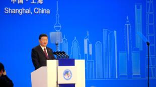 Le numéro un chinois Xi Jinping, ce lundi 5 novembre 2018 à la Foire internationale des importations de Shanghai.