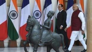 Narendra  Modi  e  François Hollande em  Nova Dehli .25 de Janeiro  de 2016