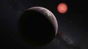 Visión artística de TRAPPIST-1 y los tres planetas.