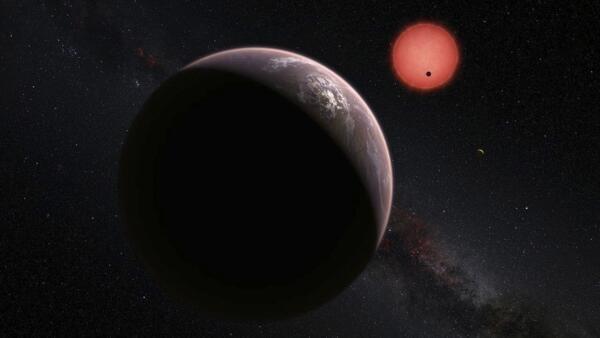Representação de planeta orbitando em torno de estrela.