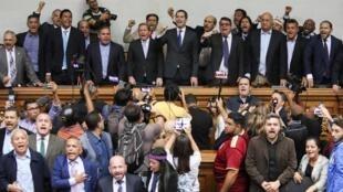 Juan Guaido au Parlement vénézuélien, le 7 janvier 2020 à Caracas.
