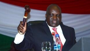 Pascal Nyabenda, President, National Assembly holds a gavel during voting session on withdrawal from ICC, 12 October 2016, Bujumbura.