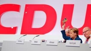 La chancelière allemande Angela Merkel au congrès de la CDU à Leipzig, le 23 novembre 2019.