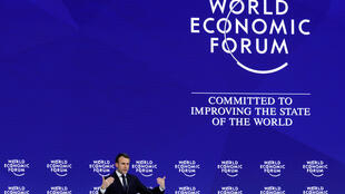 France's President Emmanuel Macron gestures as he speaks during the World Economic Forum (WEF) annual meeting in Davos, Switzerland January 24, 2018.