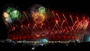 Fireworks at the Jawaharlal Nehru Stadium during the Delhi 2010 closing ceremony