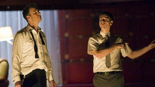 James Waterston as Brutus (L) and Jared Craig as Lucius (R)