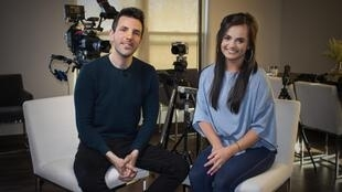Rachel Haines sits with correspondent Colm Flynn