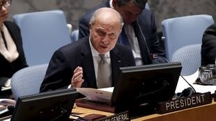 French Foreign Minister Laurent Fabius addresses a UN Security Council meeting, which debated the issue of minorities in Syria and Iraq, on 27 March 2015.