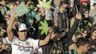 Manifestación a favor de la aprobación de la ley, este 10 de diciembre en Montevideo, Uruguay.