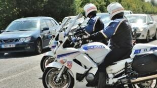 Police on traffic patrol