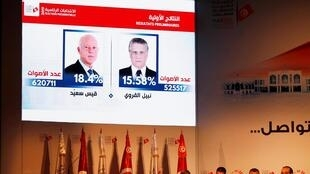Members of Tunisia's Independent Higher Authority for Elections (ISIE) announce the results in the first round of Tunisia's presidential election in Tunis, Tunisia September 17, 2019.