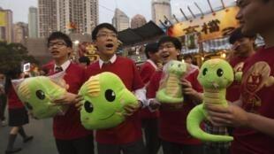 Vendedores de uma loja em Hong Kong mostram serpentes de pelúcia, o animal do ano conforme o horóscopo chinês.